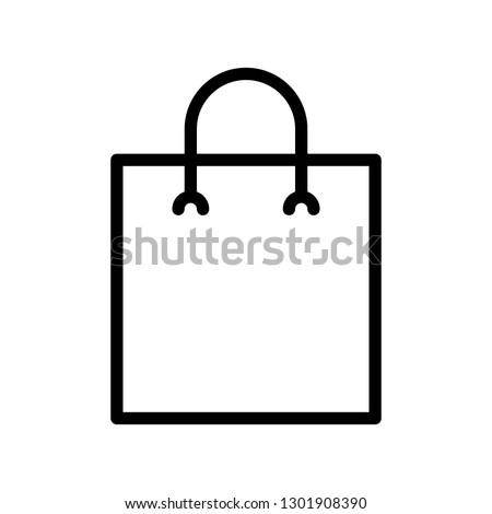 Paper bag vector illustration, line design icon