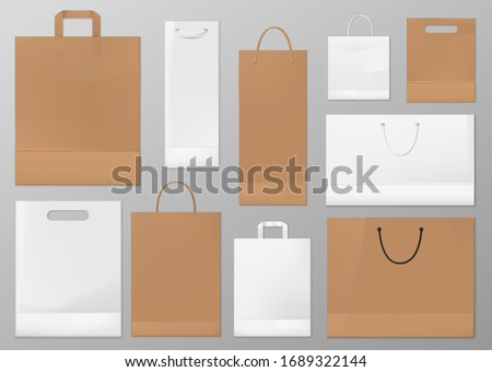 Paper bag vector mockups of blank white and brown shopping and gift packages. Realistic craft paper and cardboard bags with silk, cord and rope handles. Shop and supermarket packets, retail packaging