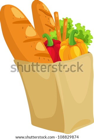 paper bag with bread and paprika vector illustration