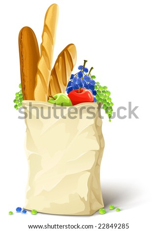 paper bag with fresh food bread and fruits vector illustration