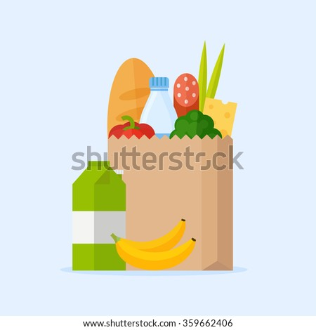paper bag with fresh food