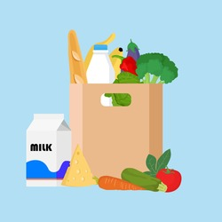 Paper bag with fresh food. Market bag full of products. Grocery bag with vegetables, wine, broccoli, cabbage, cheese, bread, milk vector illustration isolated. Concept shopping in a market.