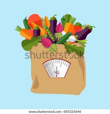 paper bag with healthy foods