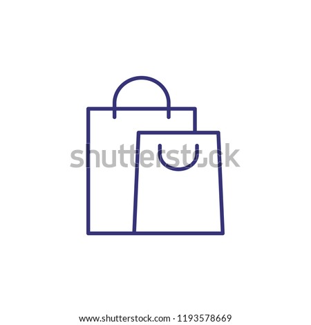 Paper bags line icon. Shopaholic, sale, purchase. Shopping concept. Vector illustration can be used for topics like retail, consumerism, commerce