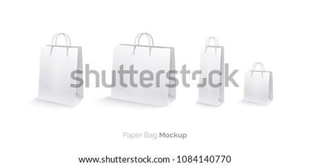Paper bags, set, mocap. Shopping bags Isolated on white background. Large bag, medium bag, small bag, bag for bottle. Realistic vector illustration. 3D