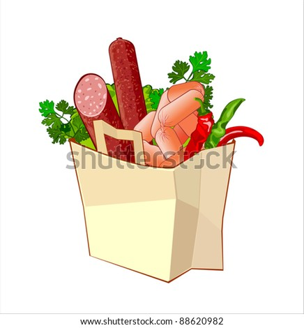 Paper bags with meat products
