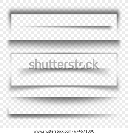 Paper banner and dividers realistic 3d transparent shadow effect. Vector collection shadow effect realistic illustration