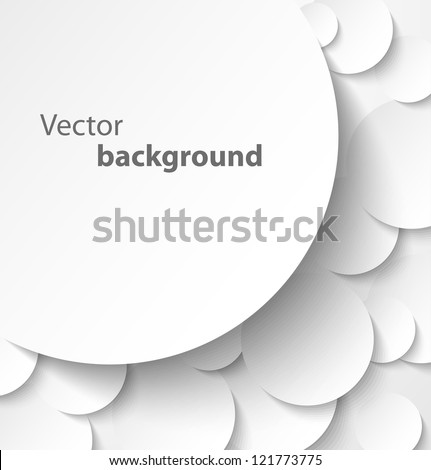 Paper banner on circle abstract background with drop shadows. Vector illustration