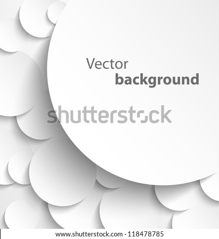 Paper banner on circle background with drop shadows. Vector illustration