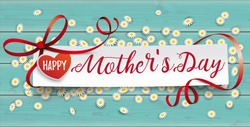 Paper banner with the text Happy Mothers Day.  Eps 10 vector file.