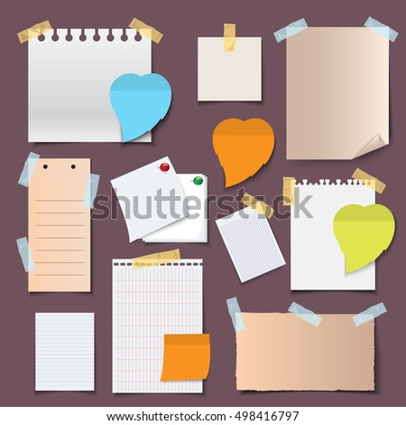 Paper Banners And Notes Icons Set - Isolated On Gray Background - Vector Illustration, Graphic Design. For Web,Websites,App, Print,Presentation Templates,Mobile Applications And Promotional Materials