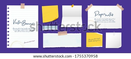 Paper banners set, white sheets pinned on wall. Memo pads, ragged pages, daily planner, empty notes. Isolated realistic vector illustration Stock photo ©