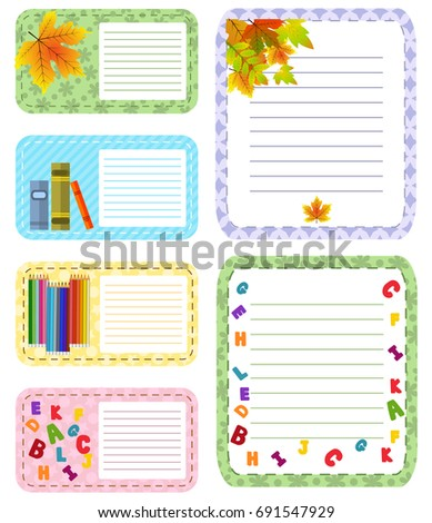 Paper banners with notes set attached colorful tape background isolated note paper memo vector illustration. Notepaper page blank reminder text pad letter post message sheet.