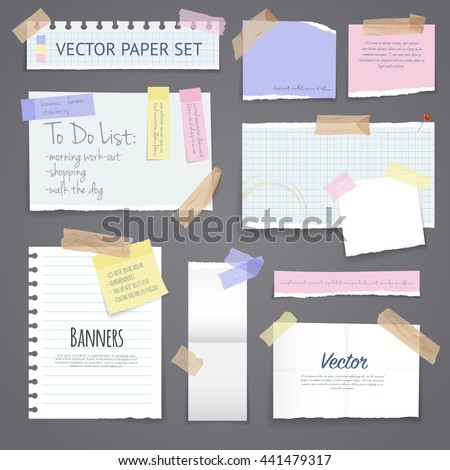 paper banners with notes set