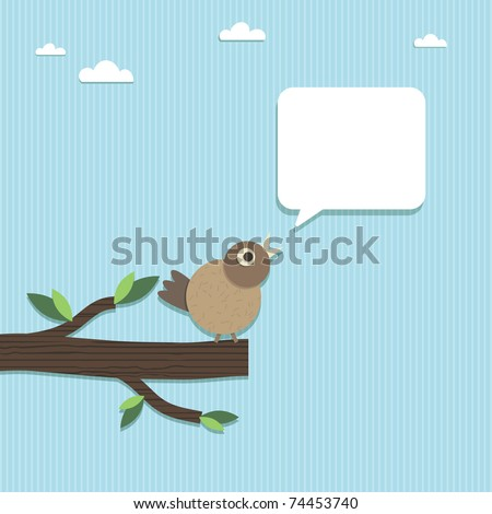 paper bird perched on paper branch with speech bubble ready for text