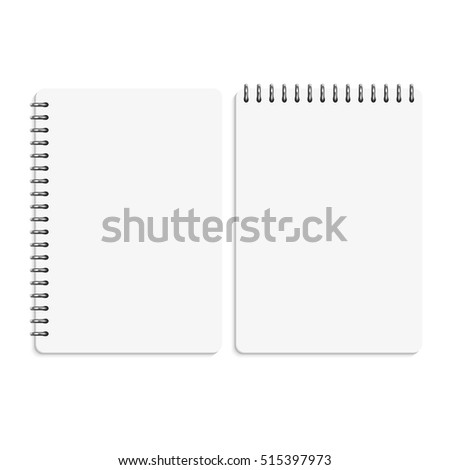 Paper blank notebooks, notepads isolated on white vector illustration. Paper notebook and clean personal memo book
