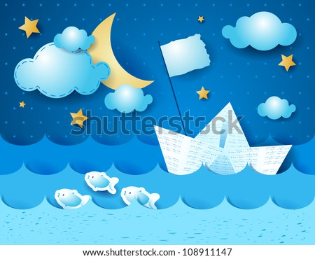 Paper boat, at night - stock vector