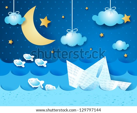 paper boat  at night fantasy
