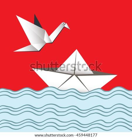 paper boat  crane card