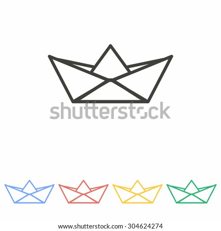 paper boat   icon  on white