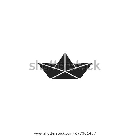 paper boat icon vector isolated