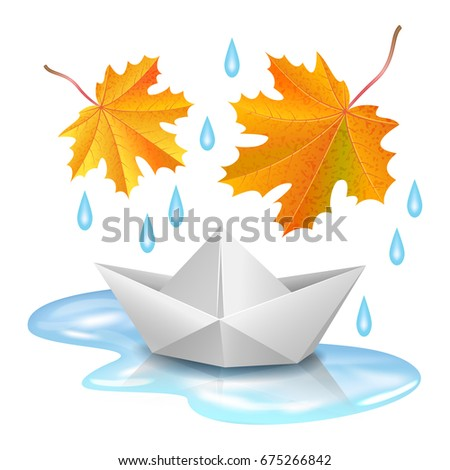 paper boat in puddle  raindrops