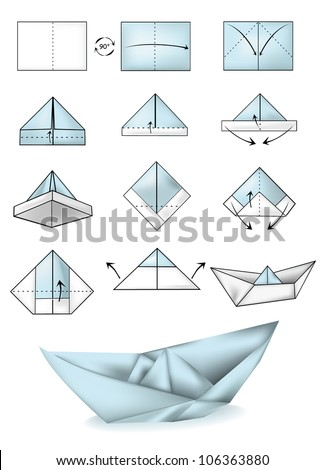 Royalty Free Origami Paper Boats Sketches On Blurred 298296302