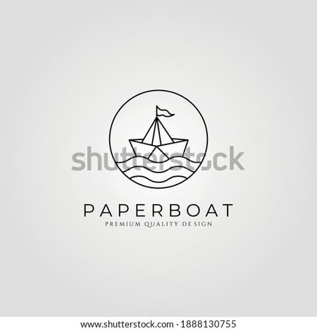 paper boat line art minimalist