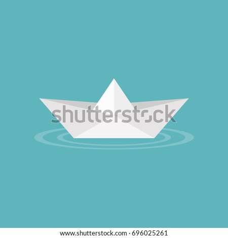 paper boat origami on water