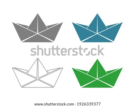 paper boat origami ship icon isolted on white background Stock photo ©