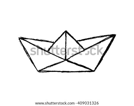 paper boat sketch  hand drawn