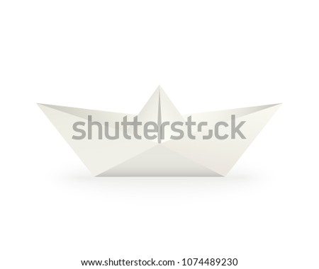 Paper boat. White origami toy. Realistic vector illustration with shadow. Symbol of marine travel and children's entertainment. Hobby and origami concept.