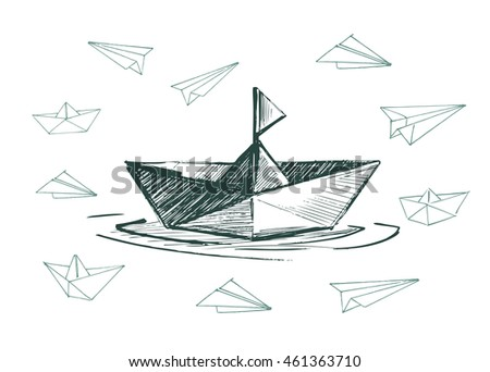 Paper boats and planes set. Vector sketch.
