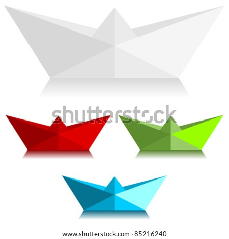 Paper boats over white background - stock vector