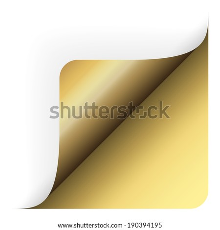 Paper bottom corner rounded up gold
