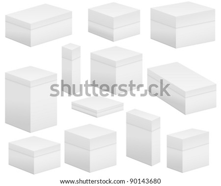 Paper box set on white background. Vector illustration.