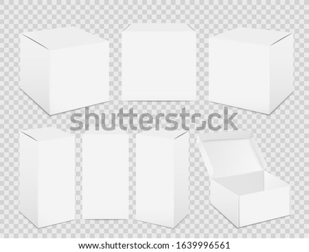 Paper boxes. Realistic tall white cardboard package mockup, paper food container. Vector set isolated pack for medicine on transparent background Stockfoto ©