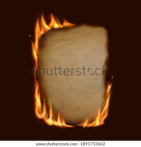 Paper burning in fire flame, realistic vector burnt paper with sparks on edge frame. Burning paper scroll or card on black background, note page or parchment sheet, igniting in fire flames Foto stock ©