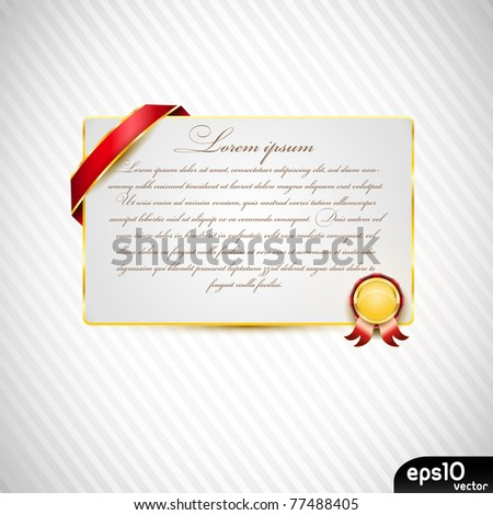 Paper card with ribbon and small medal