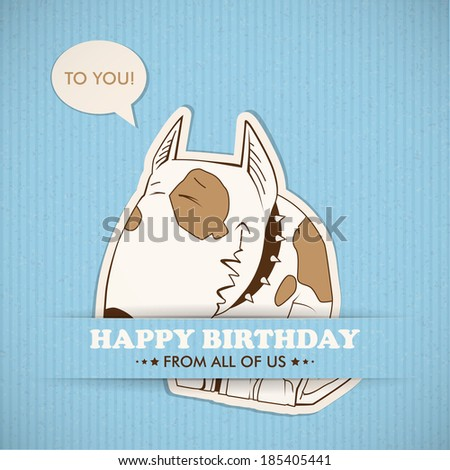 Paper cartoon doggy applique vector card