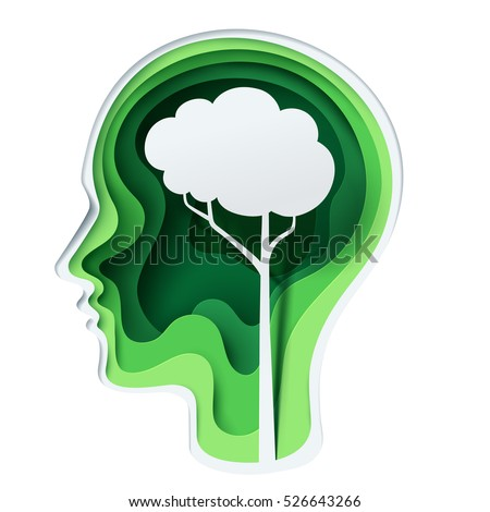 Paper carve to human head and tree shape look like a brain on green background, origami concept and ecology idea, vector art and illustration.