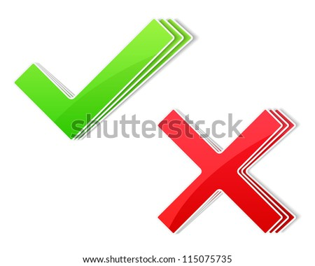Paper check and cross symbols, vector eps10 illustration