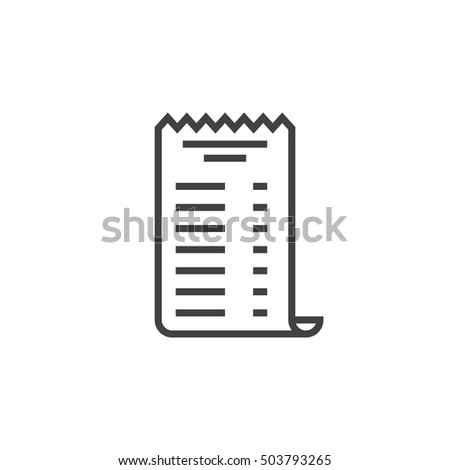 paper check receipt line icon, outline vector sign, linear pictogram isolated on white. logo illustration