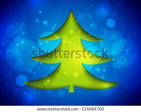 Paper Christmas card with a Christmas tree