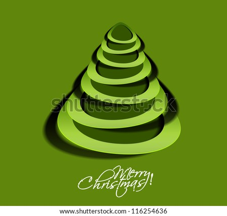 paper christmas tree, design, vector illustration.