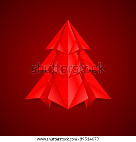 Paper Christmas Tree. Illustration on red background