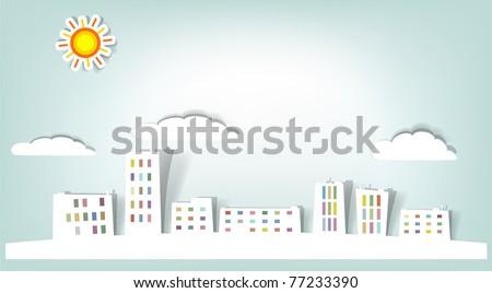 paper city landscape vector