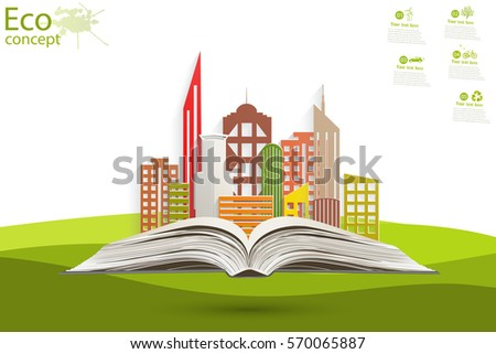Paper city on the open book. Environmentally friendly world. Summer landscape. Vector illustration. The icon and sign. Ecological concepts.