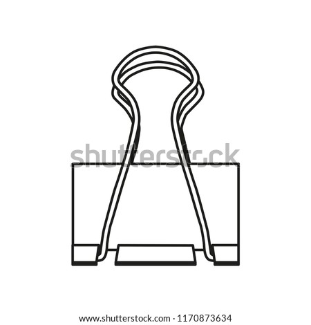 Paper clip attach line icon isolated on white background. Outline thin simple document tool vector.