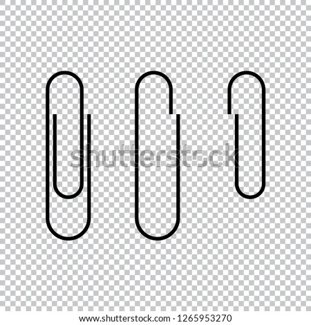 Paper clip icon vector illustration, isolated paper clips icons on transparent background